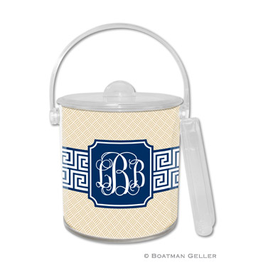 Ice Bucket - Greek Key Band Navy