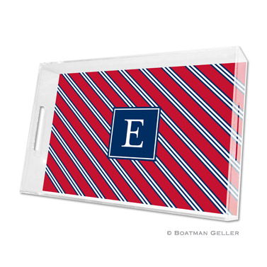 Lucite Tray - Repp Tie Red & Navy