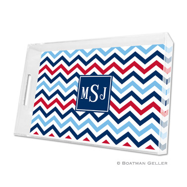 Lucite Tray - Chevron Blue & Red