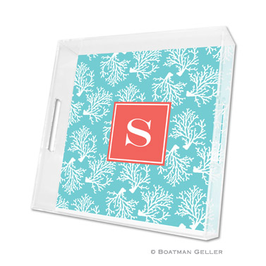 Lucite Tray - Coral Repeat Teal