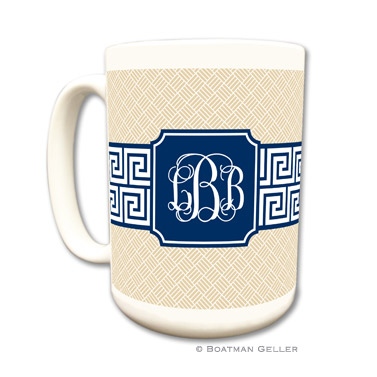 Mugs - Greek Key Band Navy