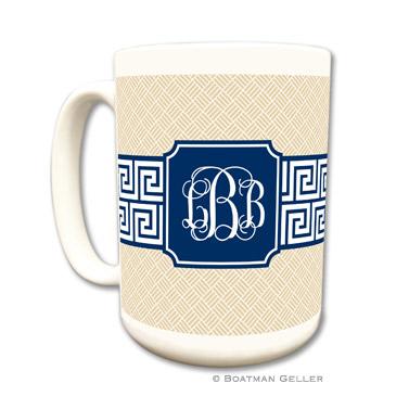 Mugs - Greek Key Band Navy