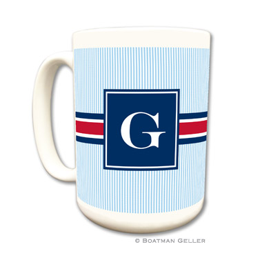 Mugs - Seersucker Band Red & Navy