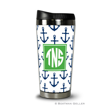 Travel Tumbler - Anchors Navy