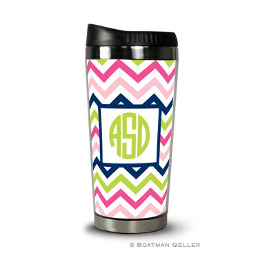 Travel Tumbler - Chevron Pink Navy & Lime