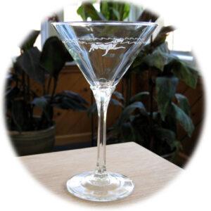 Water Dog Martini Glass