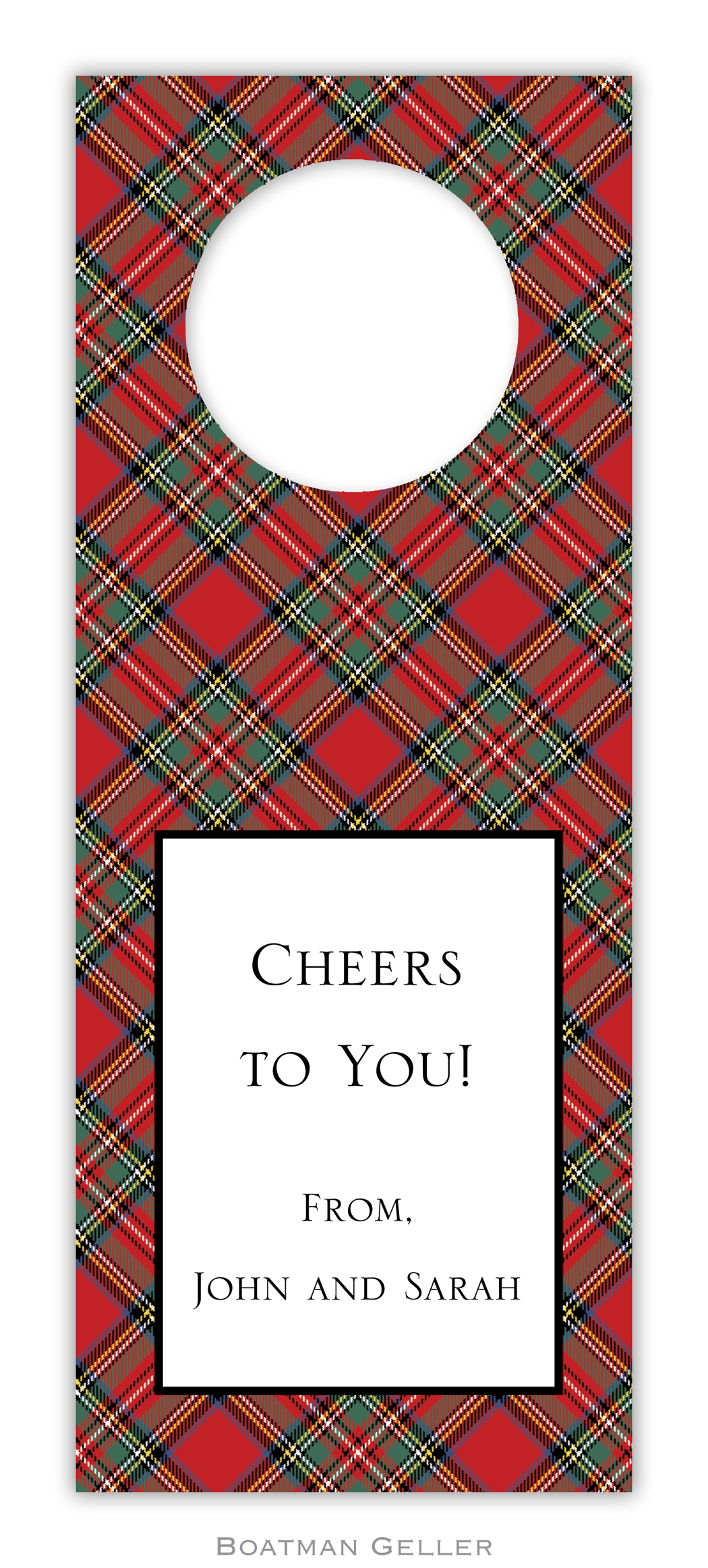 Wine Tags - Plaid Red