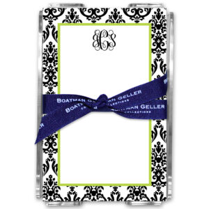 Note Pads - Madison Damask White w/Black