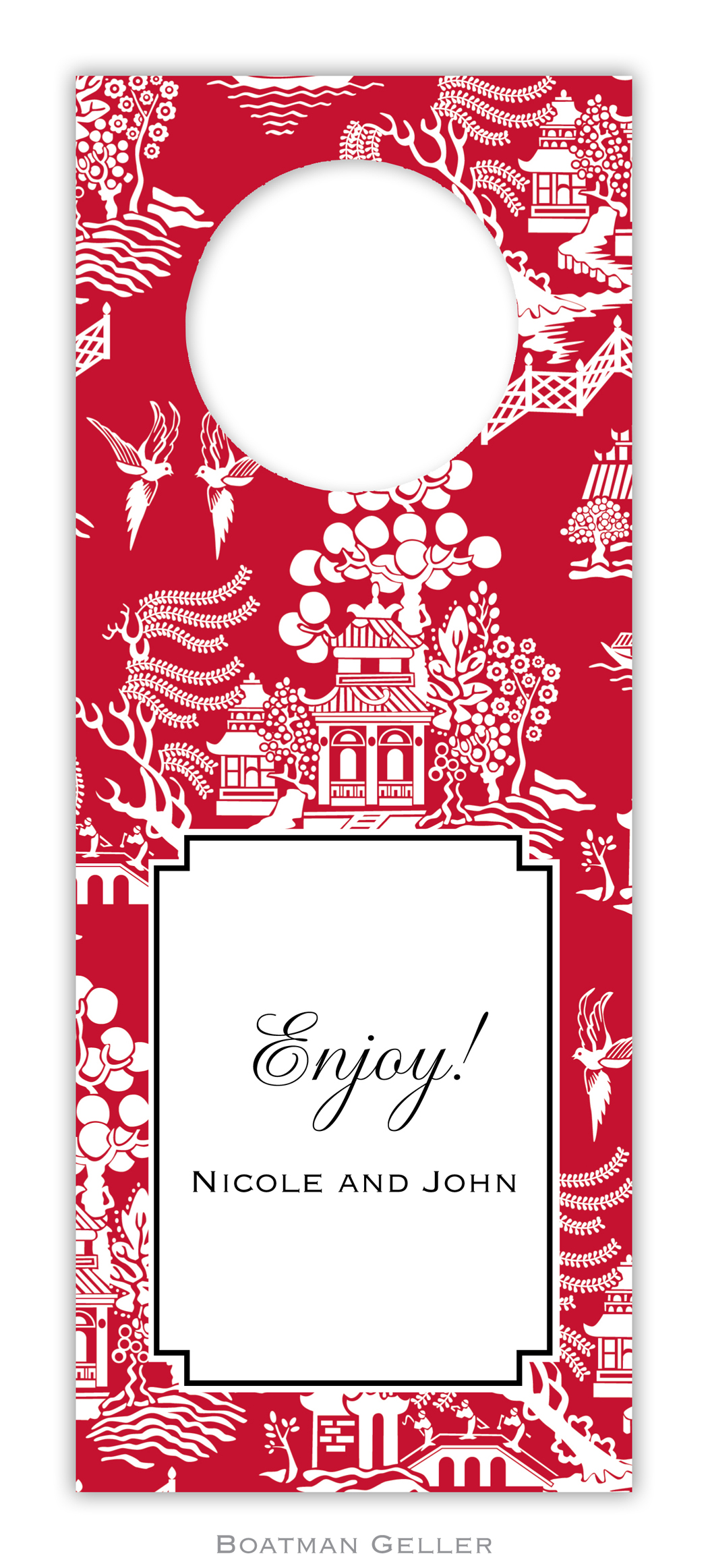Wine Tags - Chinoiserie Red
