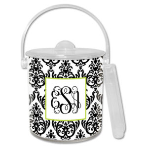 Ice Bucket - Madison Damask White w/Black