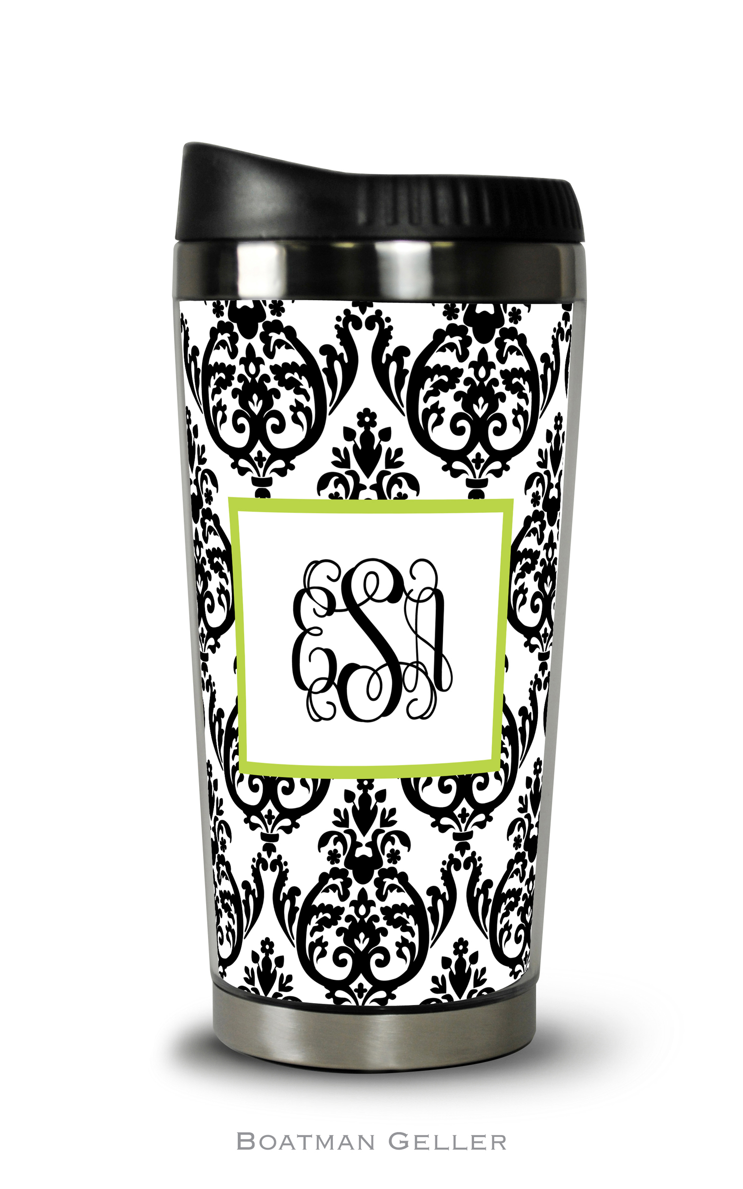 Travel Tumbler - Madison Damask White w/Black