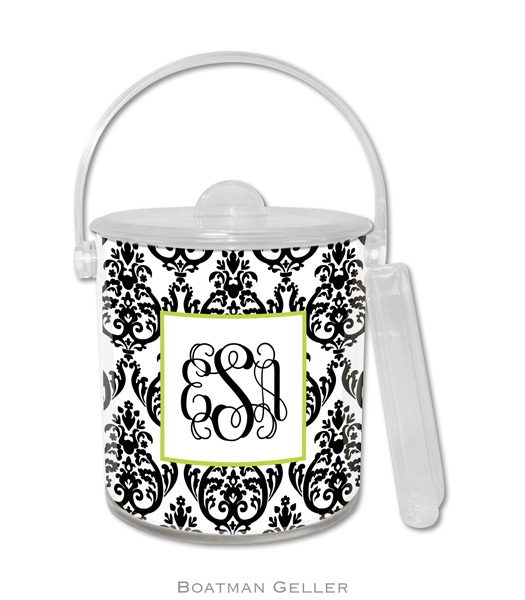 ice bucket - madison damask white w  black