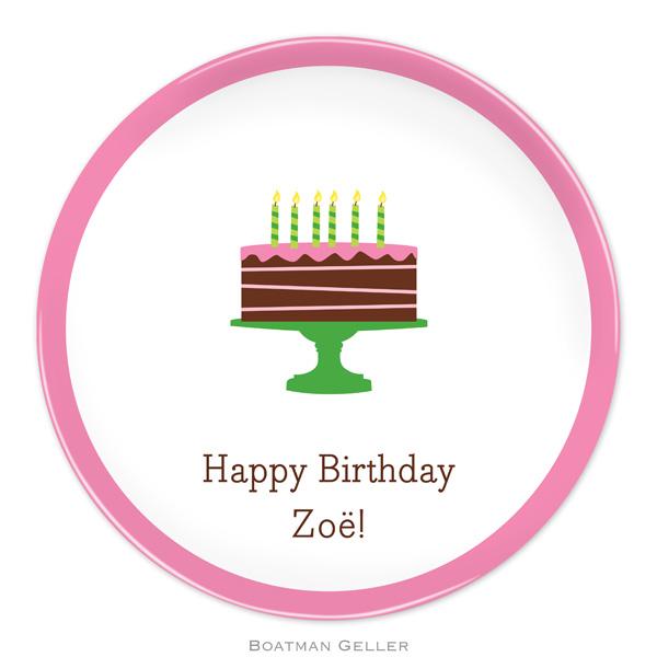 Plate-Birthday Cake Pink