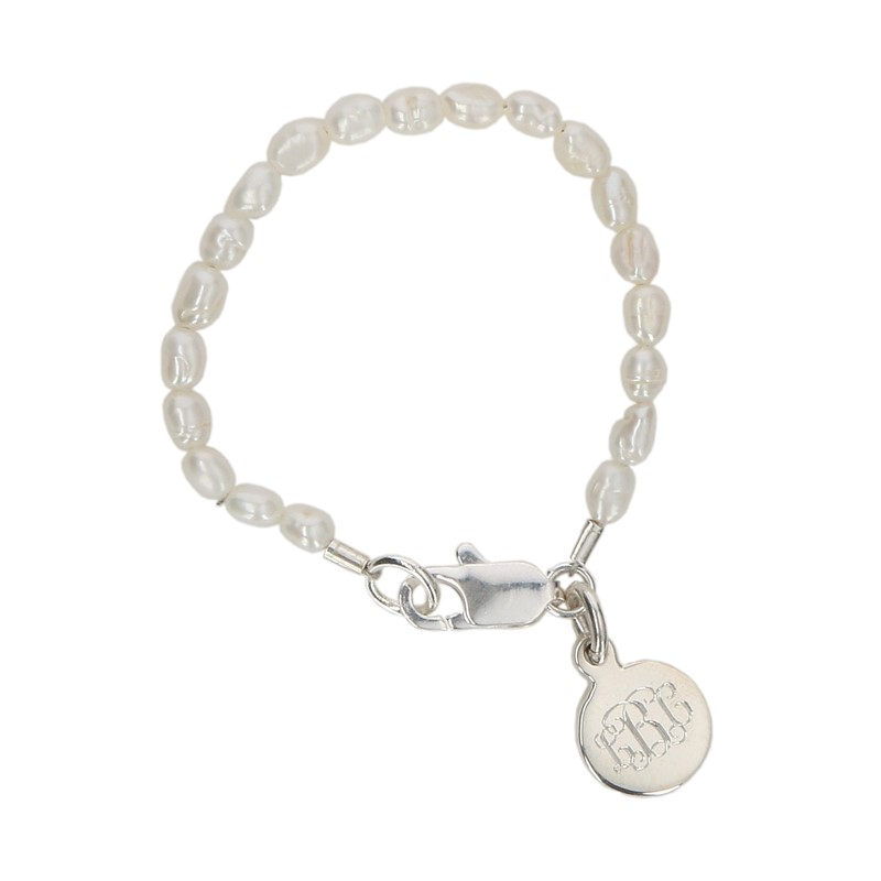 Children S Freshwater Rice Pearl Bracelet With Small Sterling Silver Charm