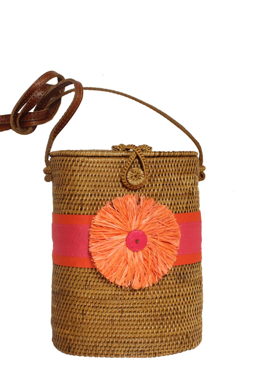 Pink Mango Flat Orange Raffia Flower Bag Elizabeth Lynn Designs