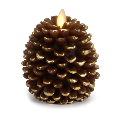 Luminara 174 Flameless Candle Pine Cone Shape Brown With