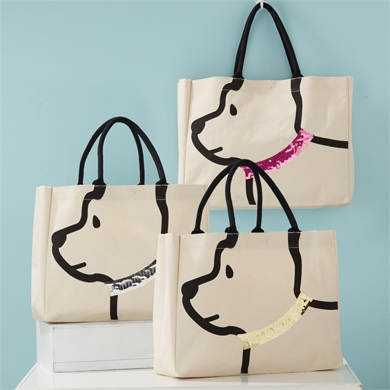 Dog Tote Bag Cotton Canvas