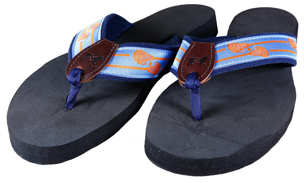 52ca7fccde60 Lacrosse Sticks (Blue) Flip Flops - Elizabeth Lynn Designs