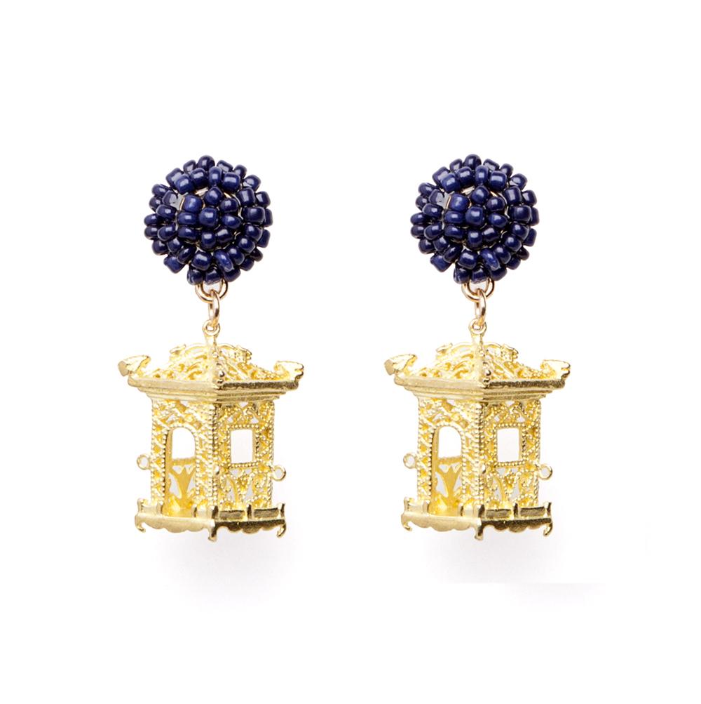 Pagoda Earrings Navy